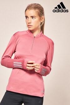 adidas Pink Half Zip Sweat Top