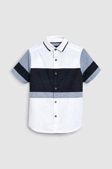 Short Sleeve Colourblock Shirt With Jersey Collar (3-16yrs)