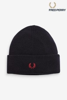 Fred Perry Navy Merino Wool Beanie