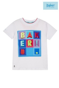 Baker by Ted Baker White Tag Square Short Sleeve Tee