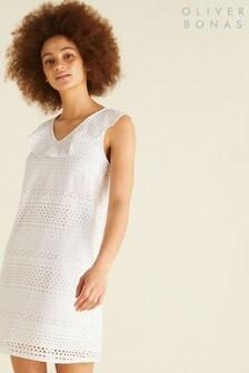 Oliver Bonas White Ruffle V-Neck Broderie Dress