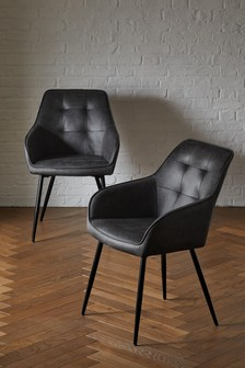 Set of 2 Cole Arm Dining Chairs With Black Legs