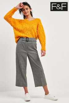 F&F Multi Wide Leg Houndstooth Trouser