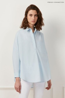 French Connection Blue Laselle Poplin Concealed Placket Shirt