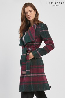 Ted Baker Green Check Wrap Coat