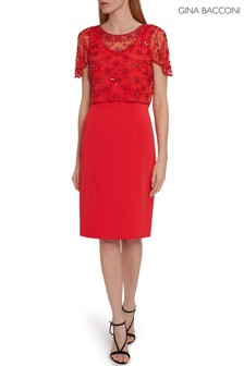 Gina Bacconi Red Irma Beaded Overtop And Dress