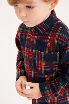 Check Reindeer Embroidery Shirt (3mths-7yrs)