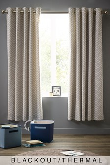 Chevron Print Blackout Eyelet Curtains