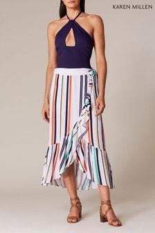 Karen Millen White Santa Marina Stripe Skirt