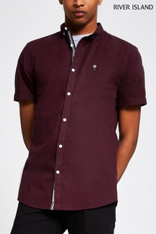 River Island Dark Red Berry Stretch Oxford Shirt
