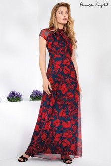 Phase Eight Scarlet/Navy Fredrica Rose Print Maxi Dress