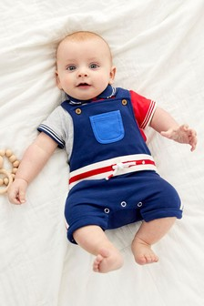 GOTS Organic Colour Block Dungaree And Bodysuit Set (0mths-3yrs)