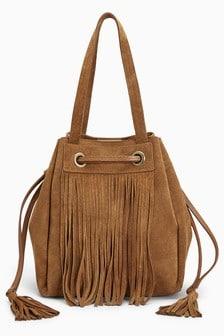 Suede Fringe Duffle Bag