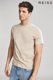 Reiss Cream Sail Mercerised Colourblock T-Shirt