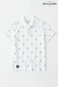 Abercrombie & Fitch White Moose All Over Print Polo