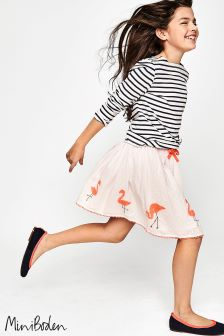 Boden Pink Flamingo Appliqué Skirt