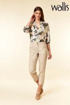 Wallis Natural Stone Zip Pocket Crop Trouser