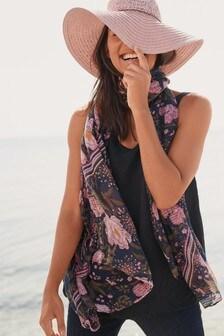 Foulard gaufré à sequins motif floral