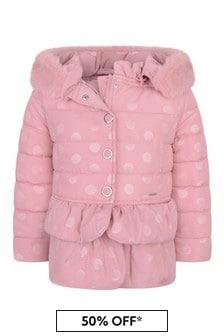 Girls Pink Polka Dot Padded Jacket