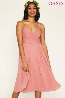 Oasis Pink Lucy Chiffon Pleated Bow Back Dress