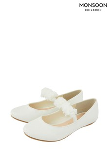 Monsoon Cynthia Ivory Corsage Shimmer Ballerinas