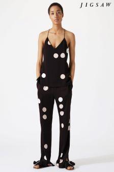 Jigsaw Black Oversized Spot Trouser