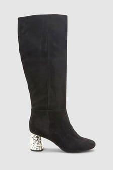 Feature Metal Heel Long Boots