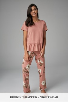 Floral Pyjamas With Ribbon Wrapping