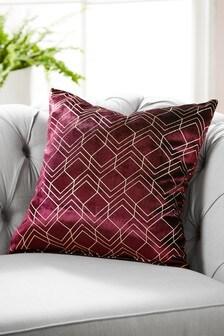Metallic Velvet Geo Square Cushion