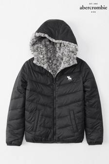 Abercrombie & Fitch Black Reversible Padded Coat