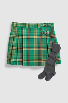 Check Kilt Skirt With Tights (3-16yrs)