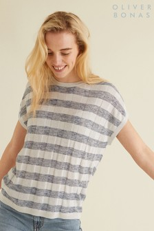 Oliver Bonas Blue Checked Sparkle Tee