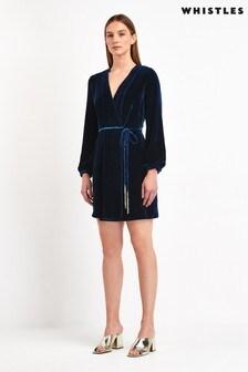Whistles Lavone Silk Dark Blue Velvet Wrap Dress