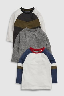Colourblock Long Sleeve T-Shirts Three Pack (3mths-6yrs)