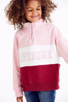 Slogan Colourblock Half-Zip Jacket (3-16yrs)
