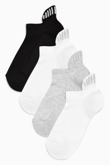 Cushioned Reflector Trainer Socks Four Pack (Older)