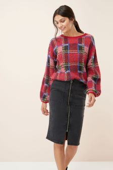 Zip Front Denim Skirt