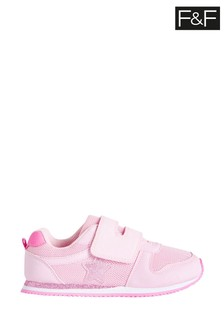 F&F Younger Girls Pink Star Retro Trainers