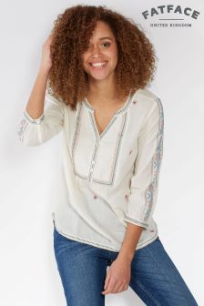 FatFace Ivory Poppy Embroidered Popover Top