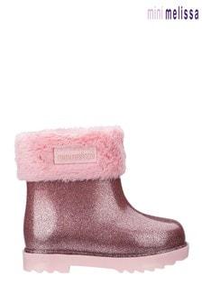 Mini Melissa Pink Glitter Welly