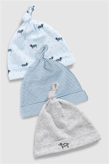 Delicate Dog Tie Top Hats Three Pack (0-18mths)