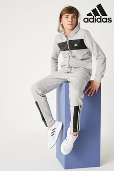 adidas Grey/Black Chest Logo Tracksuit