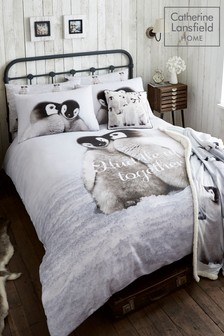 Catherine Lansfield Brushed Cotton Penguins Bed Set