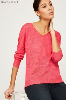 Mint Velvet Pink Marled V Neck Side Split Boxy Knit