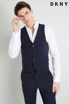 DKNY Slim Fit Navy Stripe Waistcoat