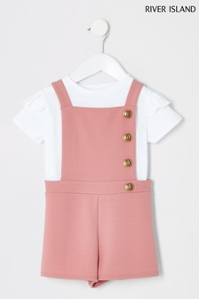 River Island Pink Pinny Playsuit