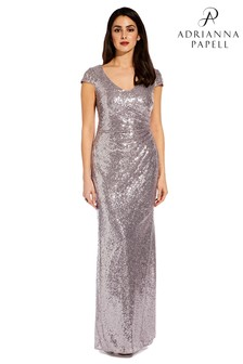 Adrianna Papell Grey AP Plus Cap Sleeve Sequin Dress