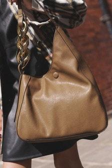 Oversized Chain Detail Shoulder Bag