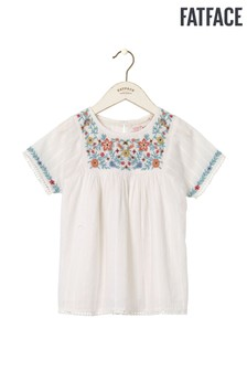 FatFace Natural Emma Embroidered Blouse