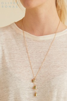 Oliver Bonas Gold Nellie Bead Cluster Drop Pendant Necklace